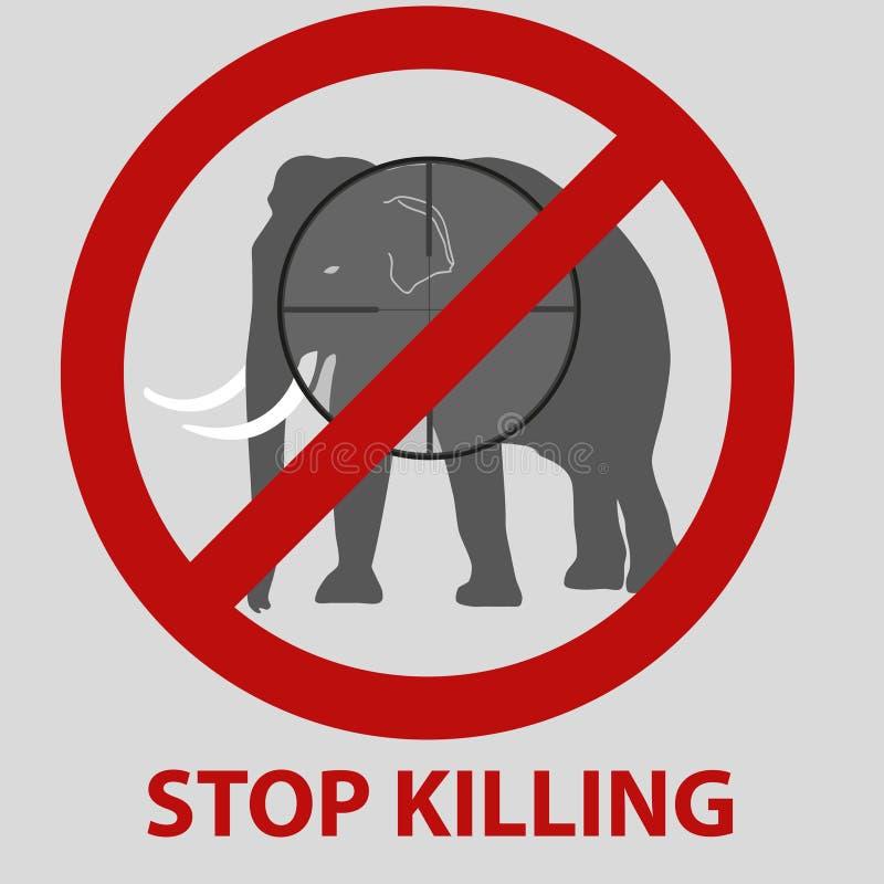 Stop killing animals symbol with elephant stock illustration