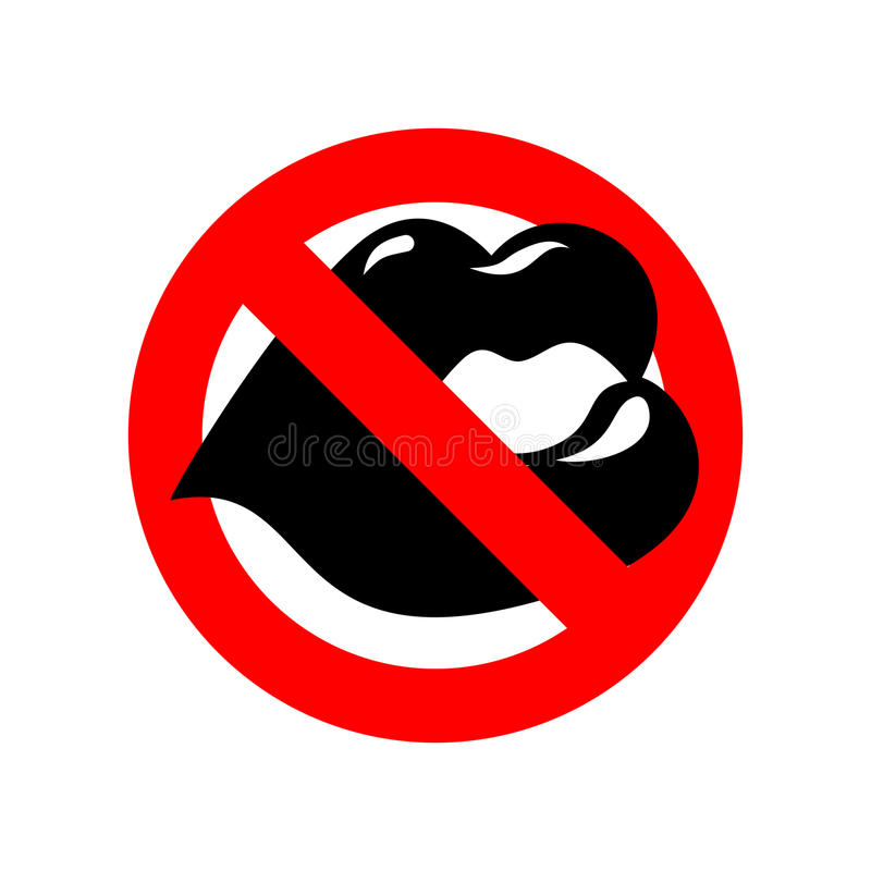 Stop Kiss Lip On Prohibiting Red Sign Ban Kisses Stock Vector