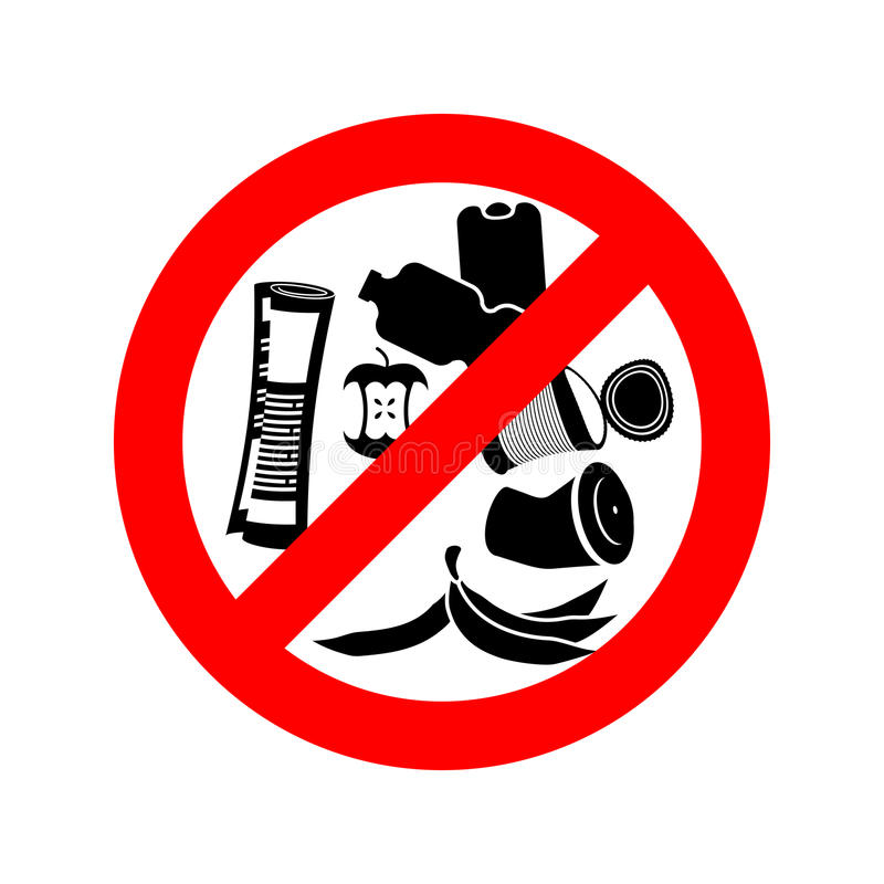 Stop littering. Ban garbage. It is forbidden to litter. red circle road sign. royalty free illustration