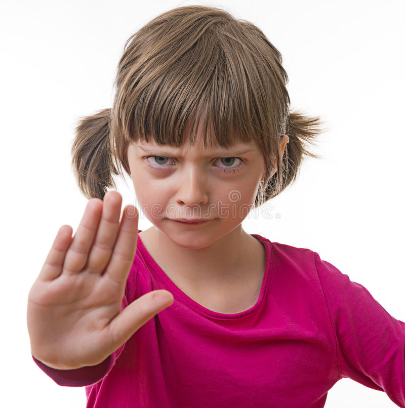 Stop. Little girl on white stock images