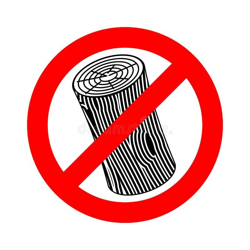 Stop log sign. Wooden billet ban. Road red Forbidden symbol.  stock illustration