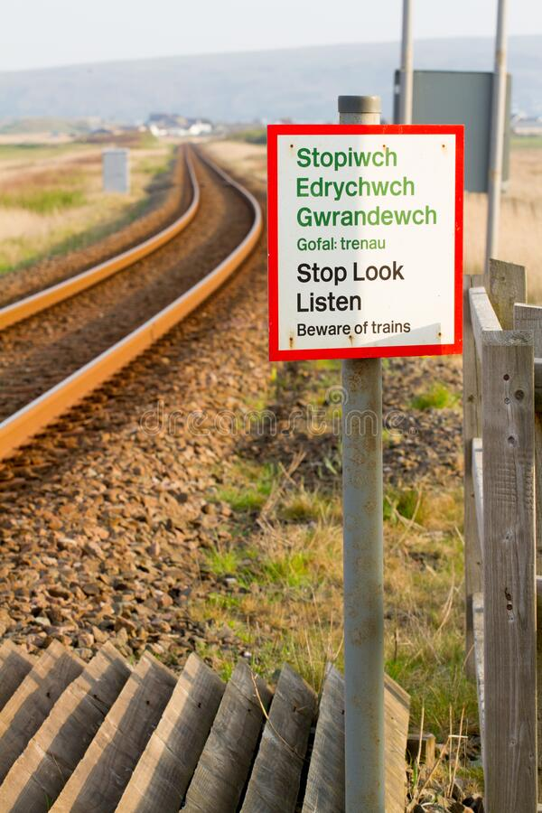 Stop, Look and Listen sign on train track royalty free stock photo