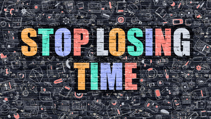 Stop Losing Time Concept with Doodle Design Icons. royalty free illustration