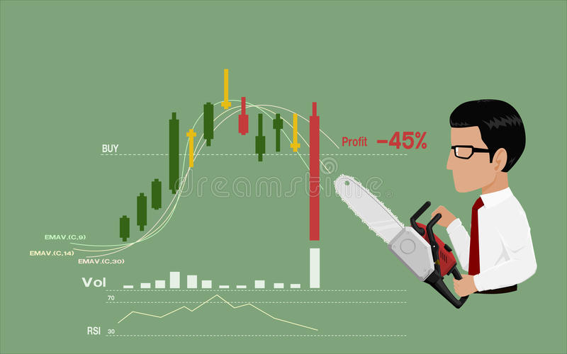 Stop loss. Businessman is going to stop loss by his chain saws royalty free illustration
