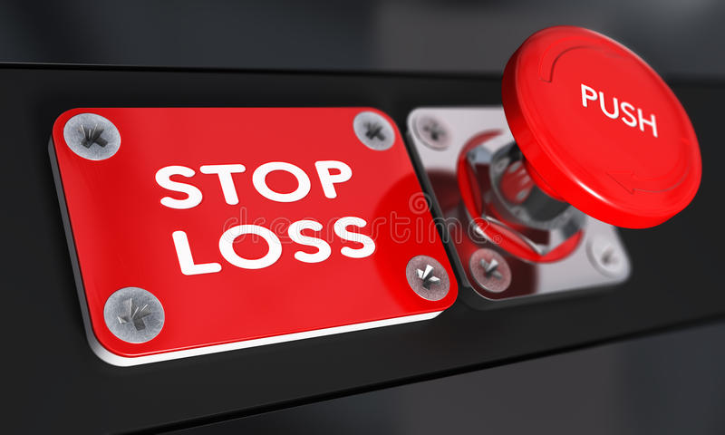 Stop Loss, Trading. Stop loss panic button with over black background, finance concept vector illustration