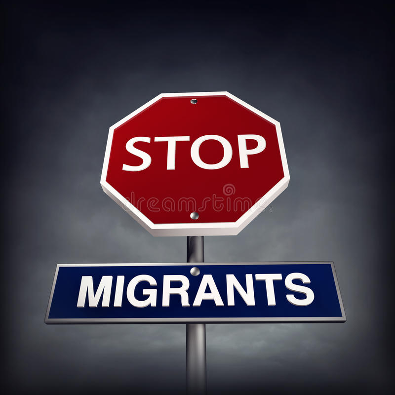 Stop migrants stock illustration. Illustration of immigrant - 61108751
