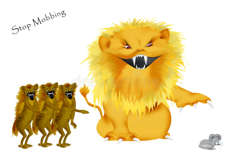 Stop Mobbing. Mobbing to a weaker person depicted of a wild lion and three hyaenas. They are laughing while the poor little mouse is crying stock illustration
