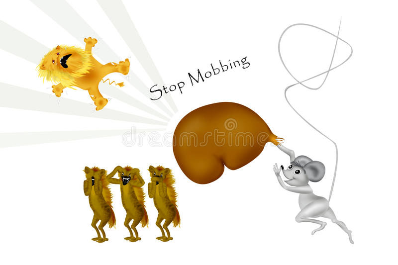 Stop Mobbing. Mobbing to a weaker person who fights back successfully. Here hits the little mouse the ugly lion with a big boxing glove stock illustration