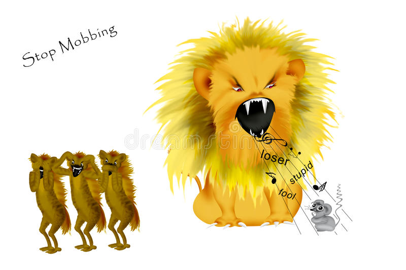 Stop Mobbing. Mobbing to a weaker person depicted of a wild lion and three hyaenas. They are laughing while the poor little mouse is crying vector illustration