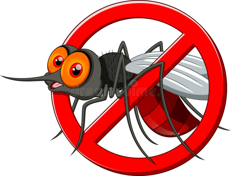 Stop mosquito cartoon vector illustration