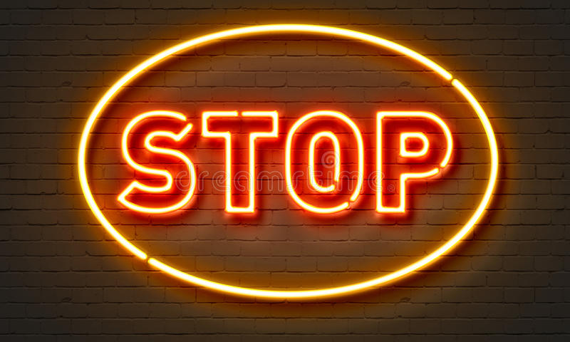 Stop neon sign on brick wall background. Stop neon sign on brick wall background stock photos
