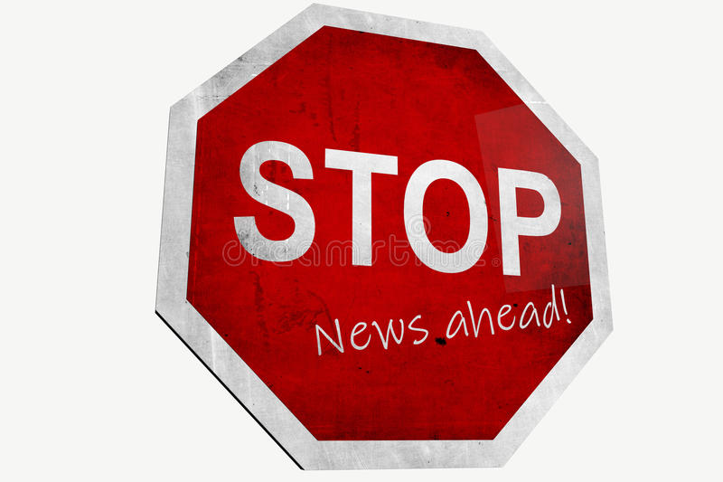 Stop News Ahead Stock Photo