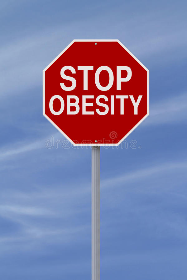 Stop Obesity. A modified stop sign on Obesity stock photo