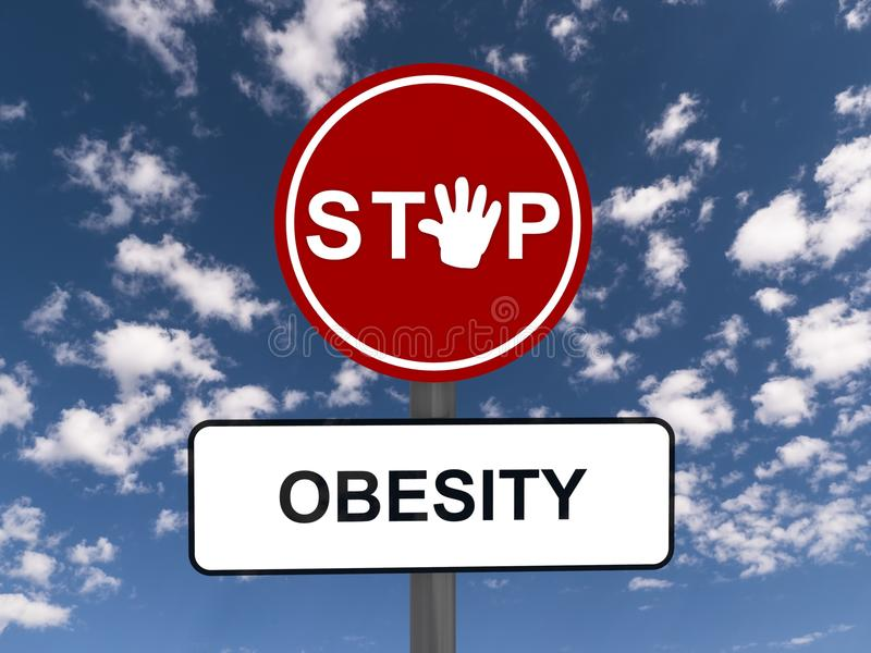 Stop obesity sign. Conceptual stop obesity road sign with blue sky and cloudscape background royalty free illustration