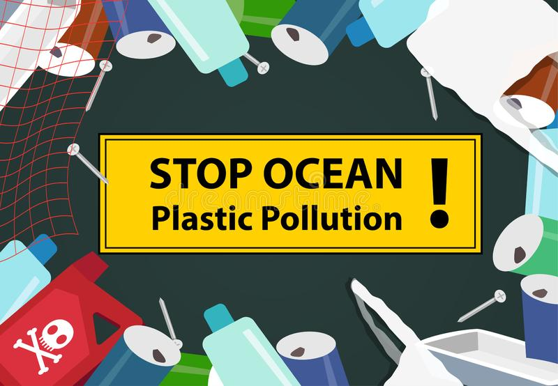Stop ocean plastic pollution background with junk vector illustration
