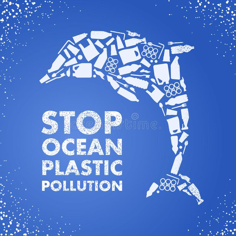 Stop ocean plastic pollution. Ecological poster Dolphin composed of white plastic waste bag, bottle on blue background stock illustration