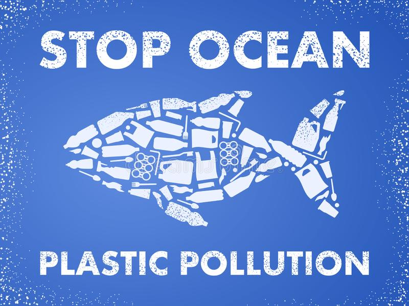 Stop ocean plastic pollution. Ecological poster Fish composed of white plastic waste bag, bottle on blue background stock illustration