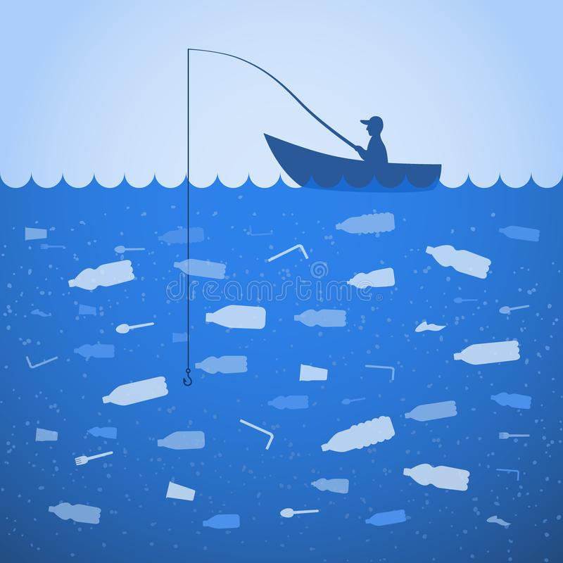 Stop ocean plastic pollution. Ecological poster. Fisherman fishing. There are plastic garbage, bottle on blue background in the royalty free illustration