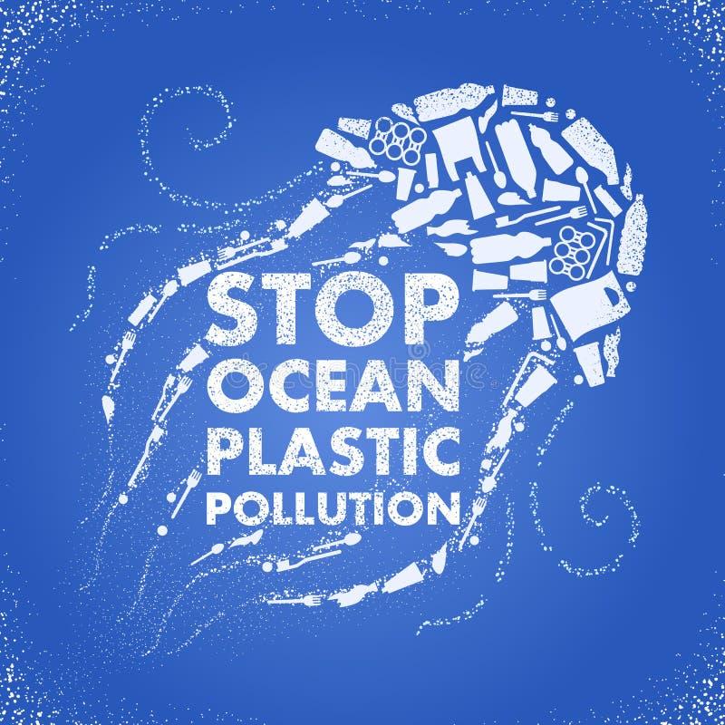 Stop ocean plastic pollution. Ecological poster Jellyfish composed of white plastic waste bag, bottle on blue background. Plastic vector illustration