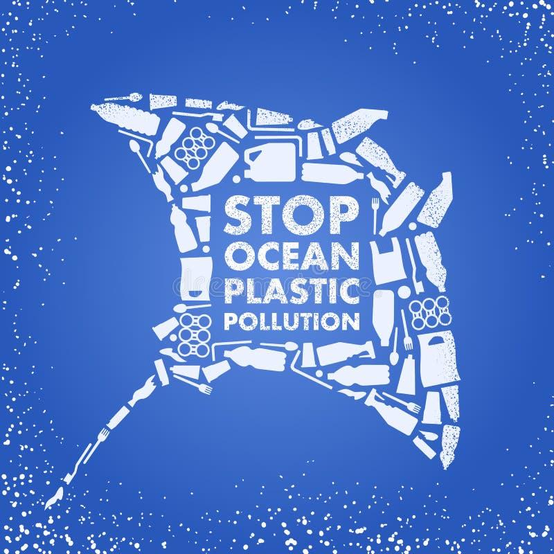 Stop ocean plastic pollution. Ecological poster Skate fish composed of white plastic waste bag, bottle on blue background. Plastic stock illustration