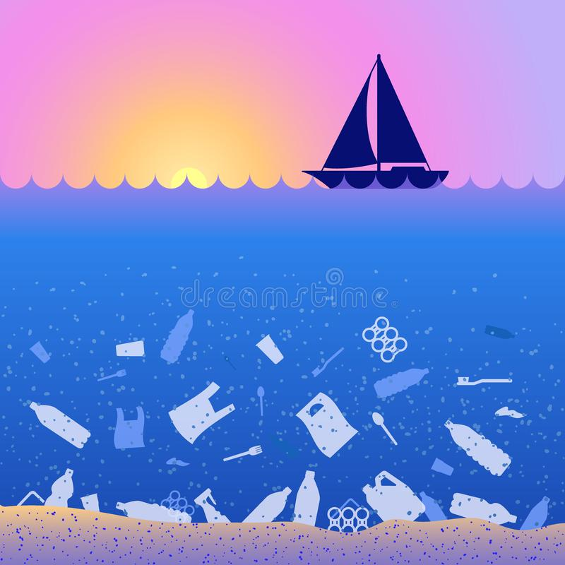 Stop ocean plastic pollution. Ecological poster. Sunset, sunrise, boat and garbage. Contrast. There are plastic garbage, bags, stock illustration