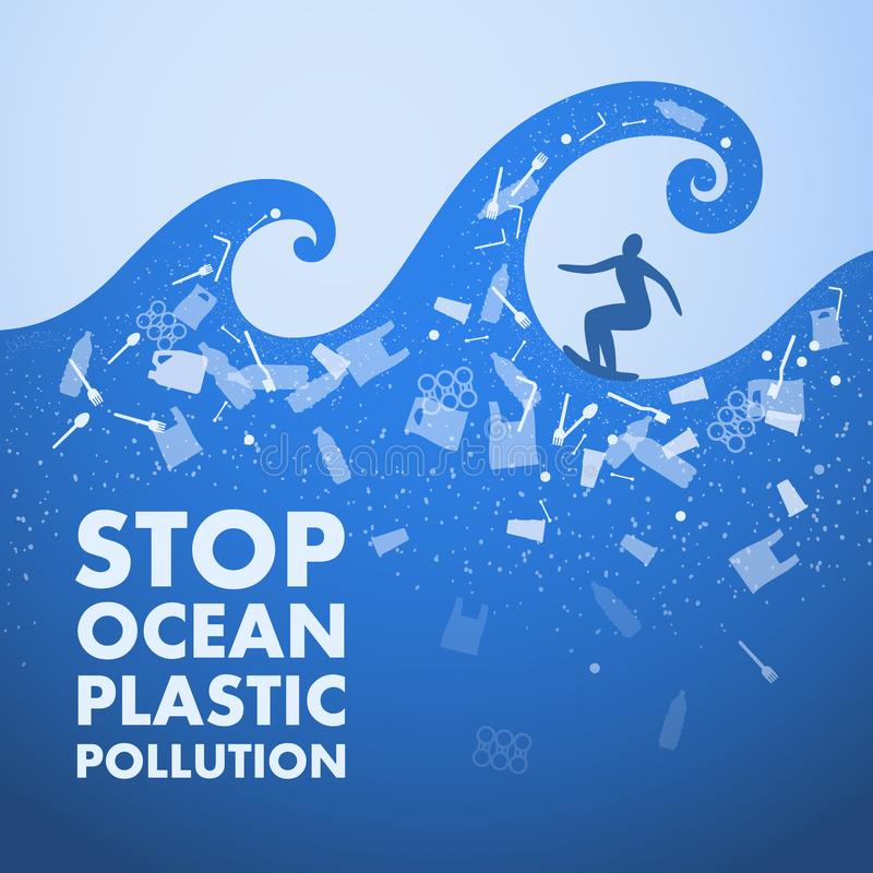 Stop ocean plastic pollution. Ecological poster. Surfer on the waves and text. There are plastic garbage, bottle, bag on blue vector illustration