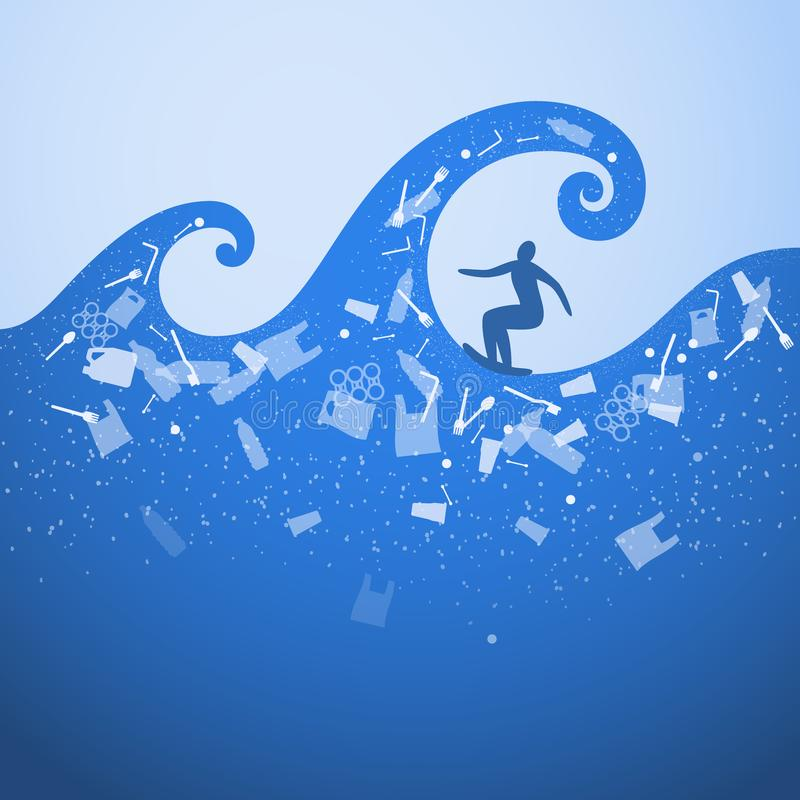 Stop ocean plastic pollution. Ecological poster. Surfer on the waves. There are plastic garbage, bottle, bag on blue background in. The water. Plastic problem stock illustration