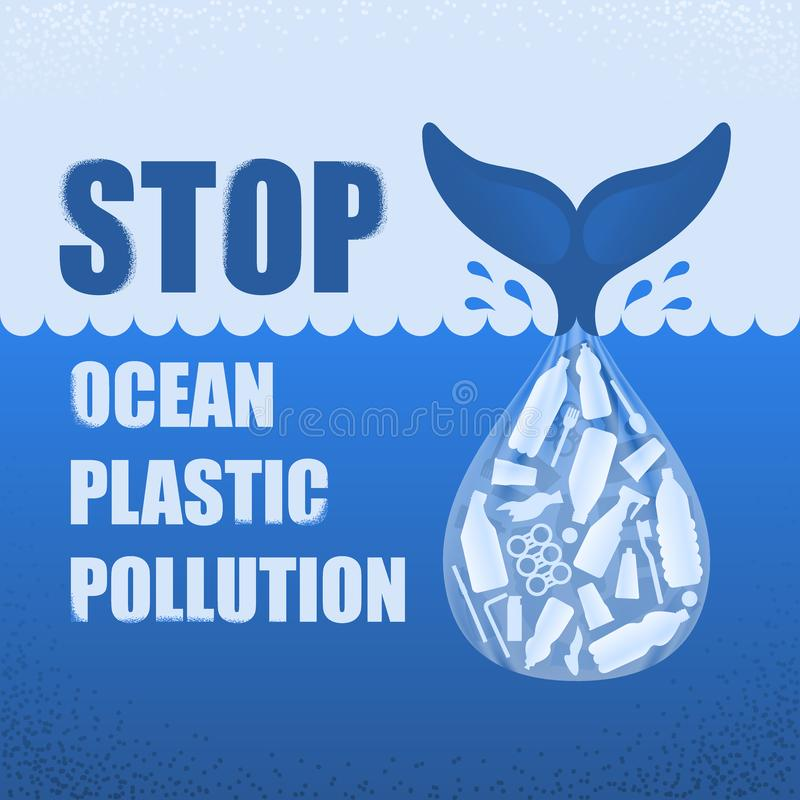Stop ocean plastic pollution. Ecological poster with text. Tail of whale and bag with plastic bottle and garbage on blue vector illustration