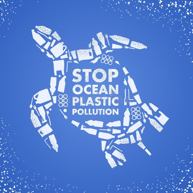 Stop ocean plastic pollution. Ecological poster. Turtle composed of white plastic waste bag, bottle on blue background stock illustration