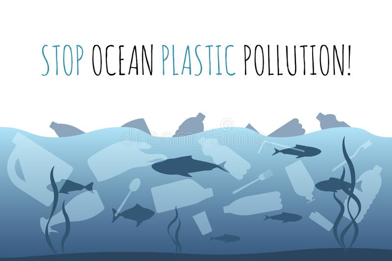 Stop ocean plastic pollution. Plastic garbage bag, bottle in the ocean graphic design. Water waste problem creative royalty free illustration