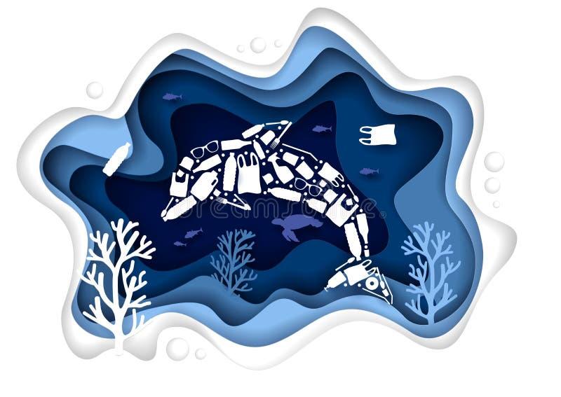 Stop ocean plastic pollution, vector paper cut illustration vector illustration