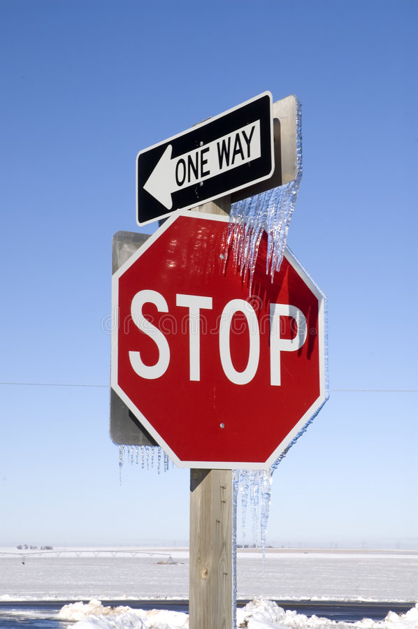 Download Stop And One Way Signs With Icicles Stock Photo - Image: 1701352