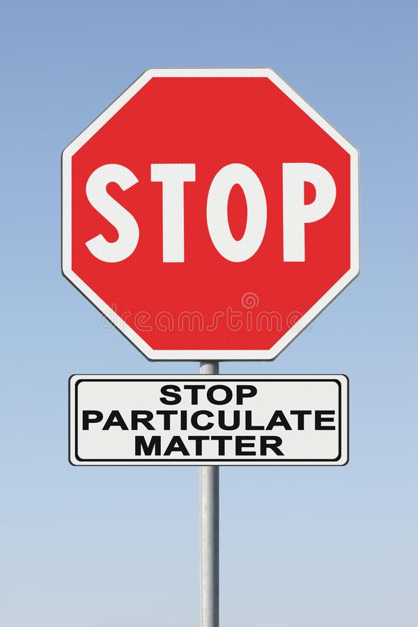 STOP particulate matter emission in the air fine dust PM10 - concept image with road sign.  royalty free stock images