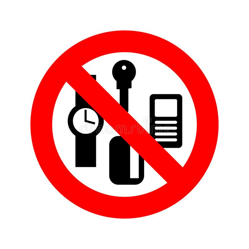 Stop personal things. Ban keys and phone. Cards and clocks. vector illustration