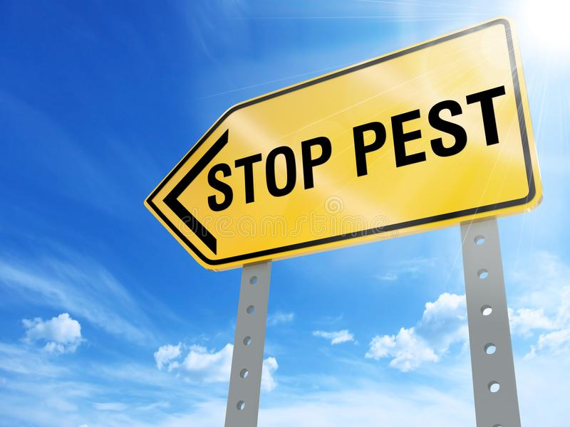 Stop pest sign. On blue sky background,3d rendered royalty free stock photos