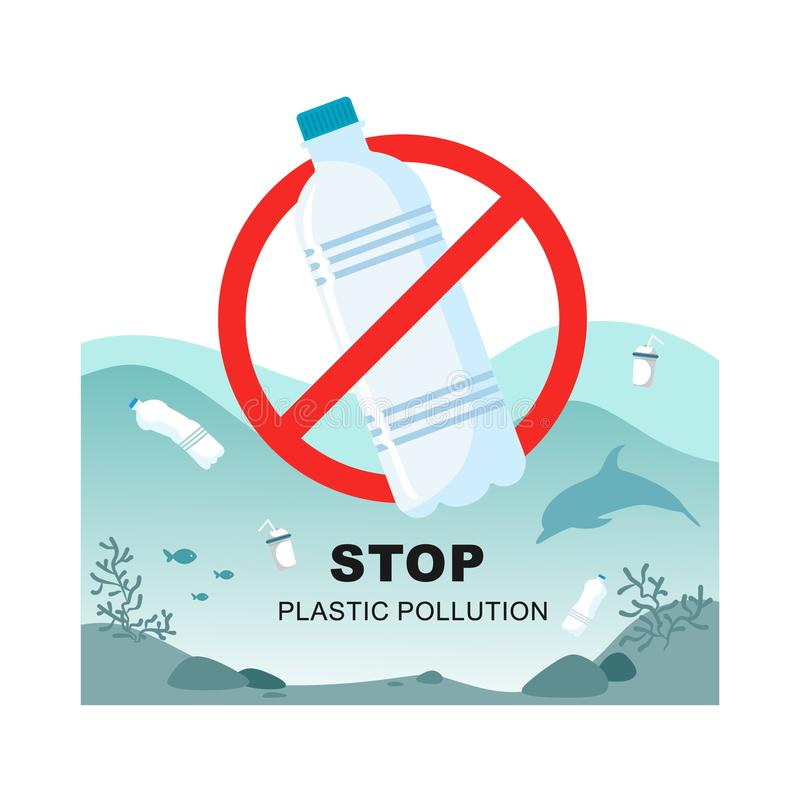 Stop plastic pollution. Plastic bottle with a sign of the plaid on the background of a sea of clogged bottles. Vector symbol vector illustration