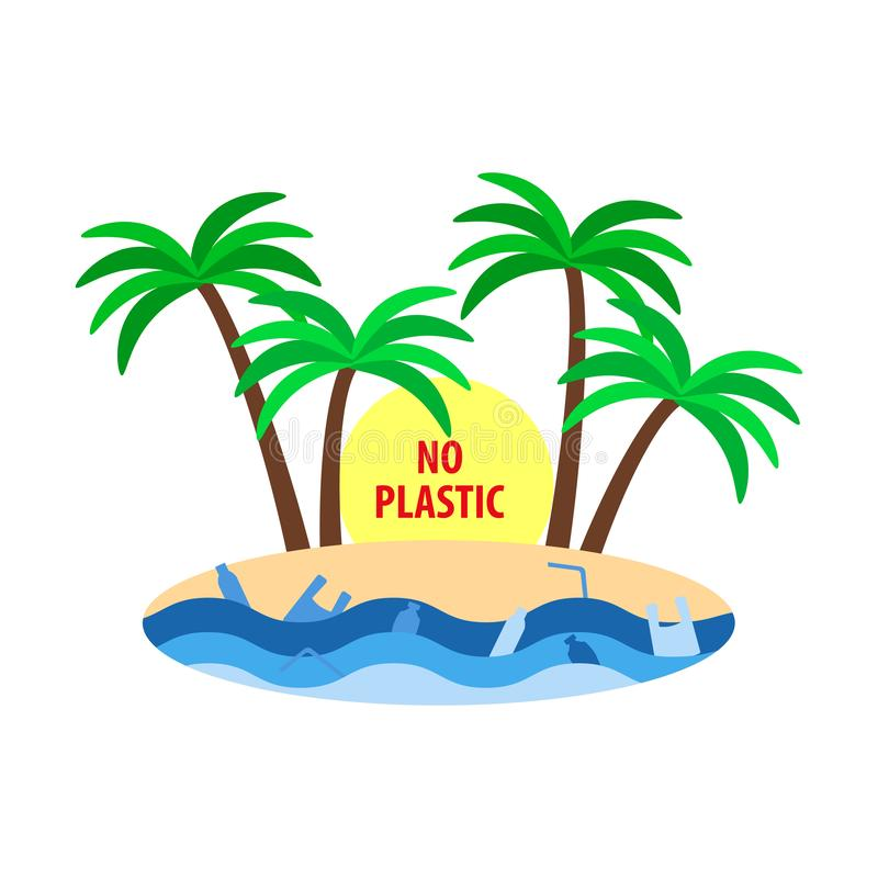 Stop plastic ocean pollution poster, tropical island with palm trees, plastic bag and bottles in water, flat style royalty free illustration