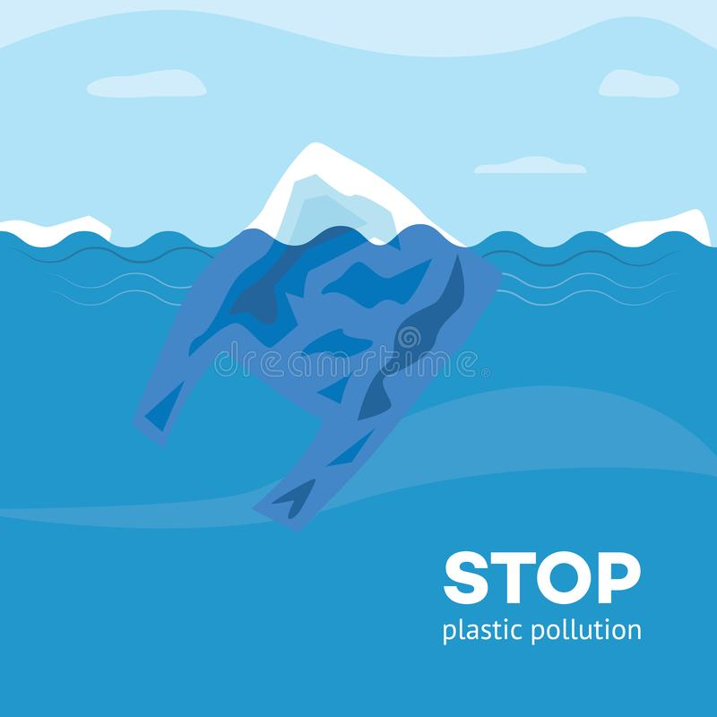 Stop plastic pollution banner with polyethylene bag floating in blue water. stock illustration