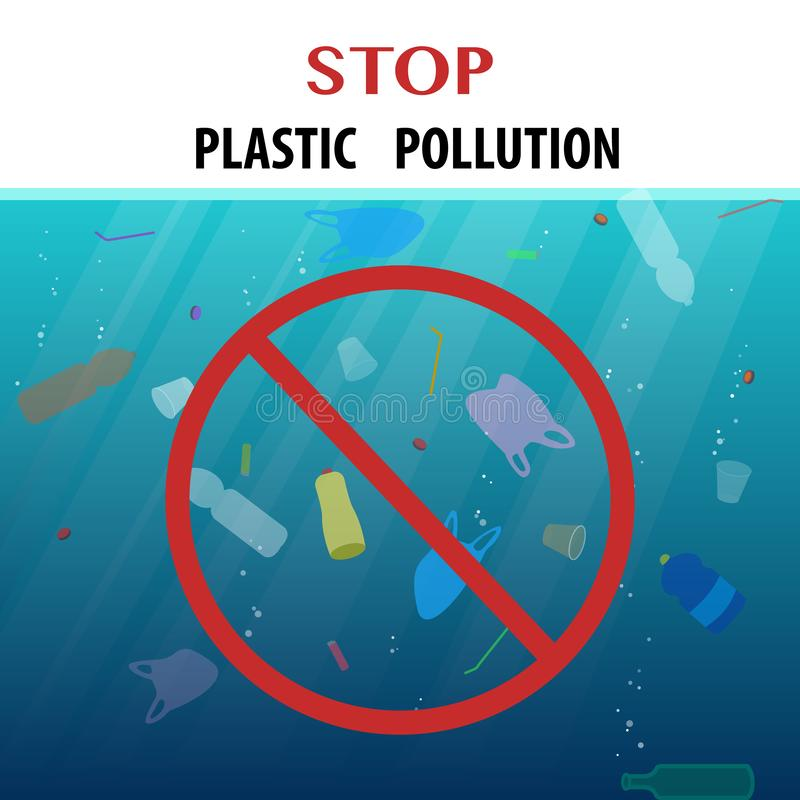 Stop plastic pollution ecological poster with floating garbage in the ocean and rad round sign vector illustration