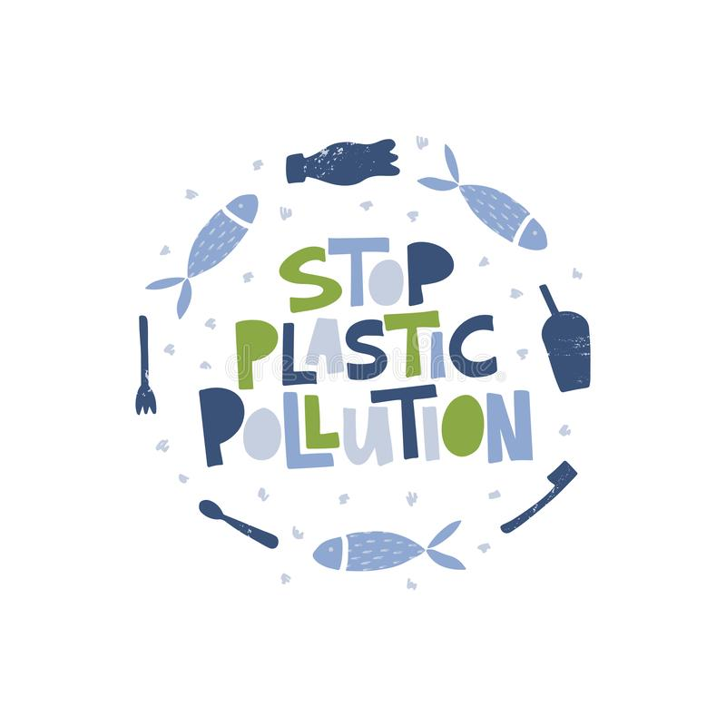 Stop plastic pollution message in round frame. Ocean contamination vector banner template. Sea fish suffering from plastic bottles, cutlery. Marine life stock illustration