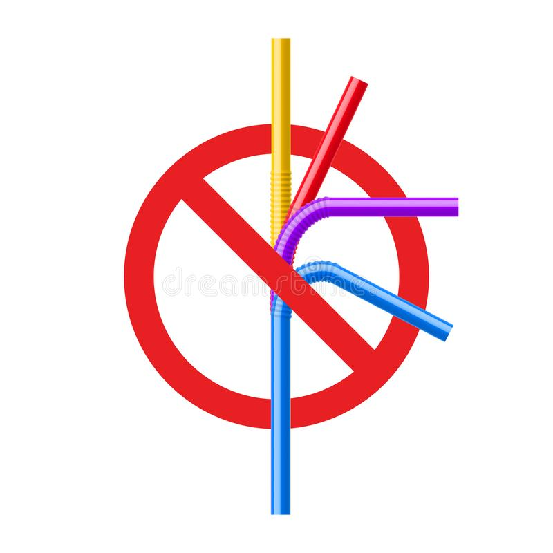 Stop plastic straw tube ban symbol. Ocean pollution plastic drink straw forbidden. Eco bamboo, steel recycle royalty free illustration