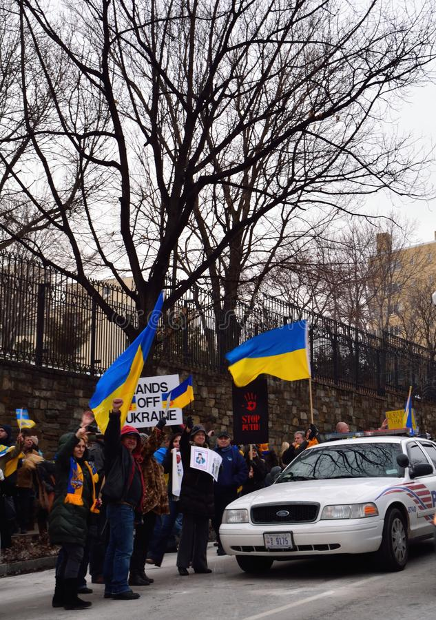 Stop Putin. Ukraine demonstration outside the Russian Embassy in DC March 6, 2014, protesting Russias involvement in Crimea royalty free stock photography