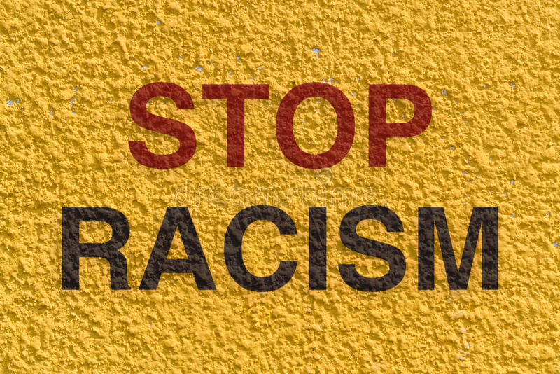Stop racism. Appeal to stop racism and achieve equality among the races in the world stock photos