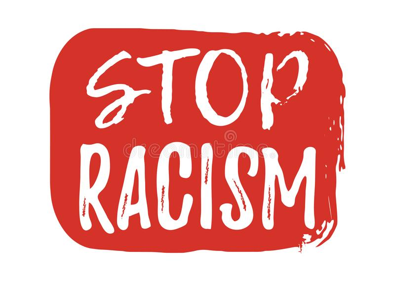 Stop Racism label. Font with Brush. Equal Rights Badges. Vector. Illustration icon royalty free illustration