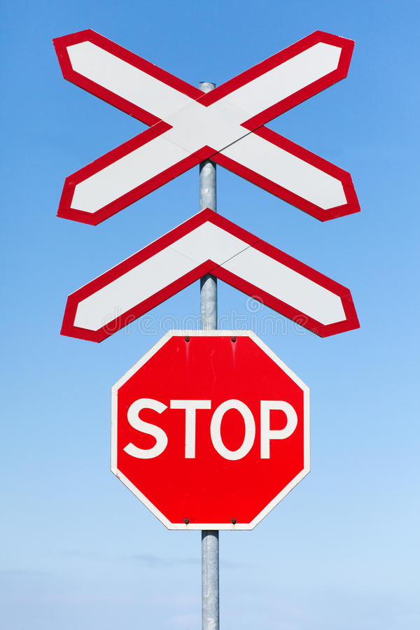 Free Stop Railway Crossing Signs Royalty Free Stock Photo - 22595685