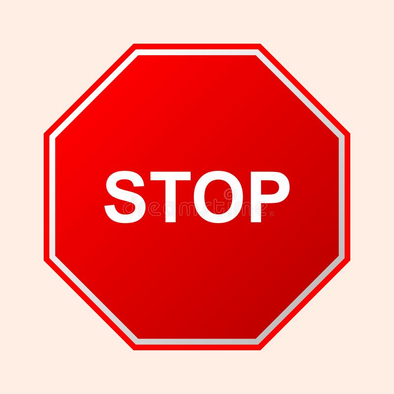 Stop. Red road sign board with text stop on a transparent background. Icon and logo for web site and mobile app vector illustration