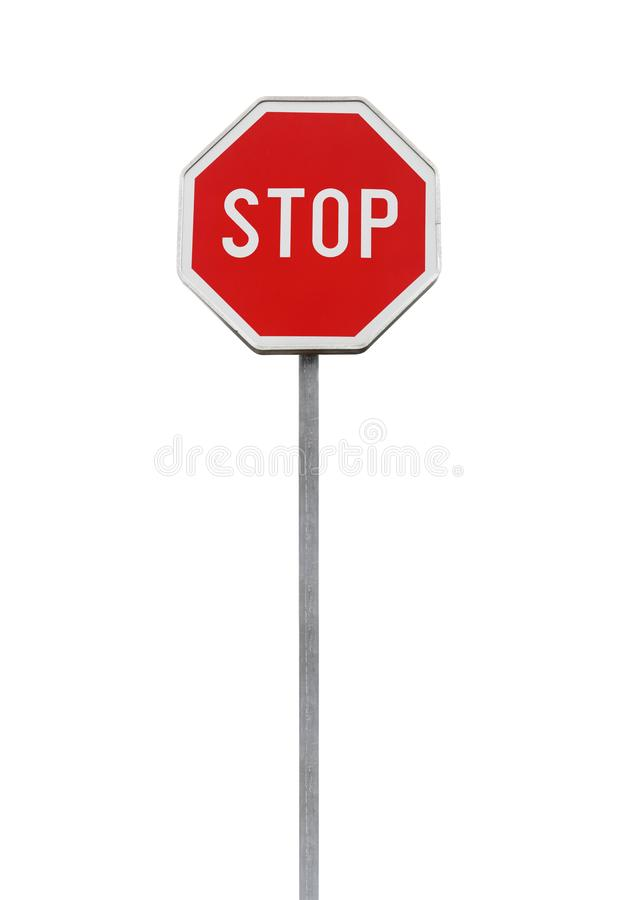 Stop. Red road sign isolated on white. Stop. Red road sign on metal pole isolated on white background stock photos