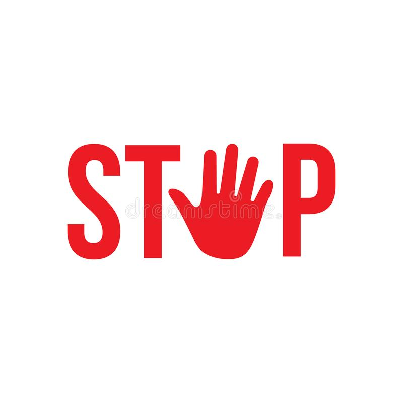 Stop Red sign with hand for prohibited activities. Vector illustration isolated on white background. stock illustration