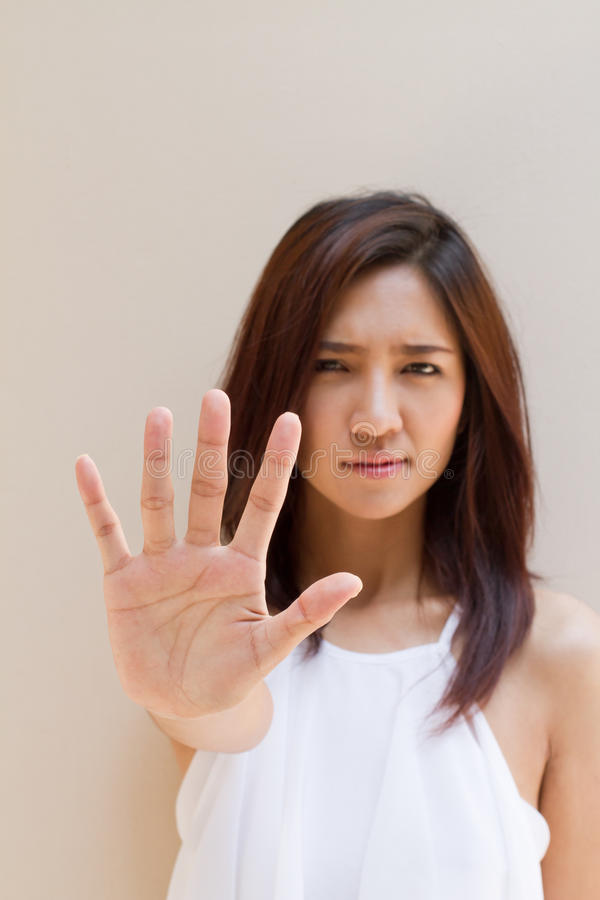 Stop, reject, refuse, forbid, negative hand sign stock photos