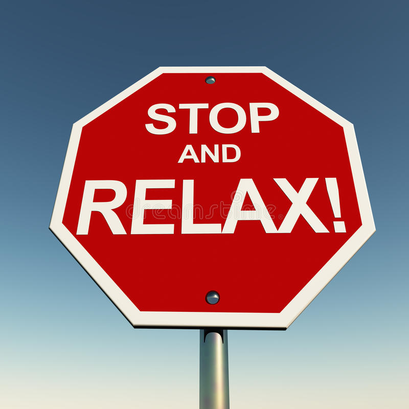 Stop and relax. Relax concept, take it easy with this stop and relax road sign over a clean blue sky stock illustration